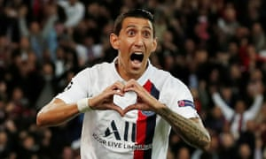 Ángel Di María celebrates scoring the first goal for Paris Saint-Germain in their Champions League win against Real Madrid.