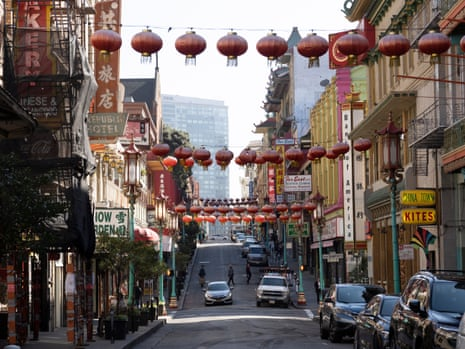 The empty streets of Chinatown in San Francisco, California.