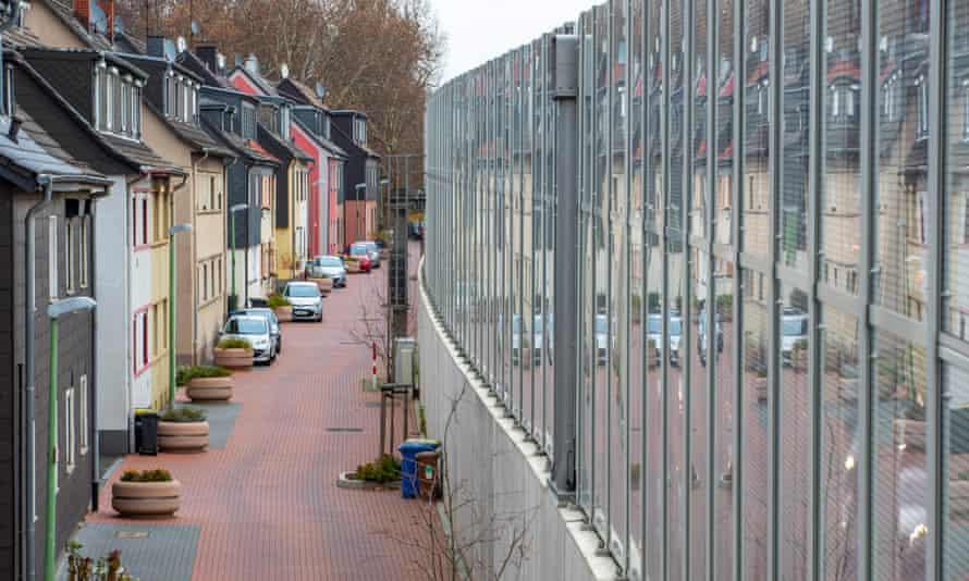 Noise barrier by autobahn in Essen, Germany.