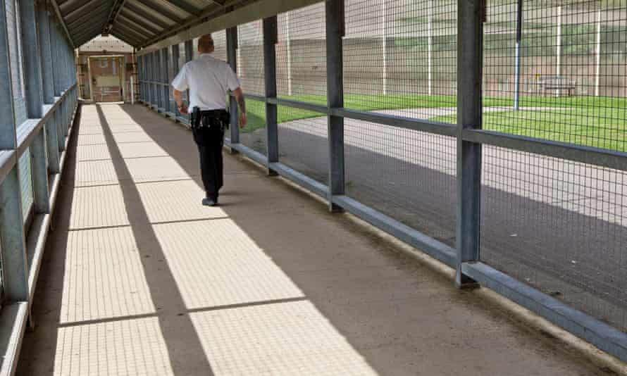 A secure walkway at HMP The Mount, Hertfordshire