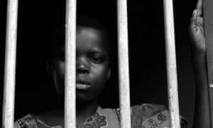 Betty Apio, child abductee, looks out from the War Child rehabilitation centre in Uganda in 2004