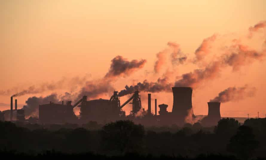 British Steel's Scunthorpe plant is pictured at dawn in north Lincolnshire, north east England