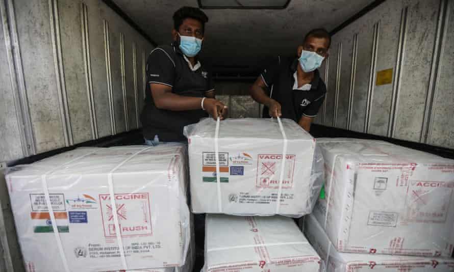 Oxford/AstraZeneca Covid vaccine doses are unloaded in Colombo, Sri Lanka