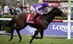 Ryan Moore crosses the finish line on Mendelssohn to earn trainer Aidan O'Brien his 27th top-level victory this season.