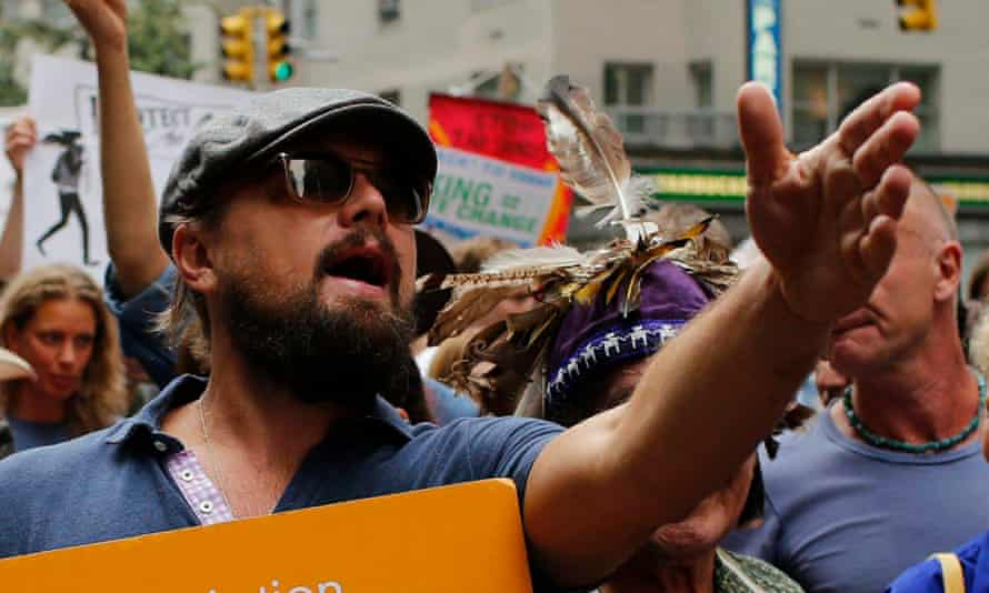Leonardo DiCaprio on a climate change march in New York in 2014