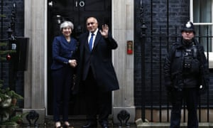 Theresa May welcoming the Bulgarian prime minister Boyko Borissov to 10 Downing Street today.