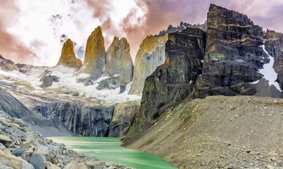 The turquoise lakes of the Torres Del Paine get their colour from minerals in the melting glaciers.