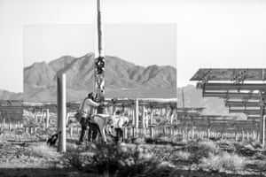 """Jamey Stillings, #7626s - 4 June 2012, Ivanpah Solar - Workers install a heliostat for Unit 1 with mountains reflected in its mirrors, 20x28"""", Archival pigment ink print, Ed of 25"""