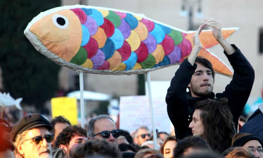 A demonstration of the Sardines movement, formed to oppose the far-right League party, in Rome on 14 December 2019.