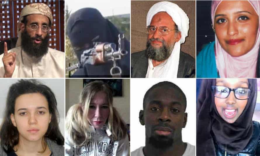 (Top left to right clockwise) Anwar al-Awlaki, Khadijah Dare, Ayman al-Zawahiri, Aqsa Mahmood, Zahra Halane, Amedy Coulibaly, Sally Jones and Hayat Boumedienne