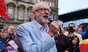 Labour leader Jeremy Corbyn joins hundreds of protesters during a Stop the Coup demonstration in n George Square, Glasgow on 31 August.