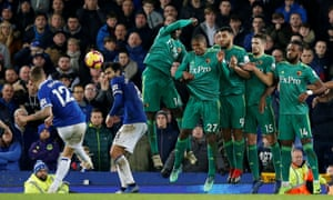 Lucas Digne (left) scores Everton's injury-time equaliser against Watford.