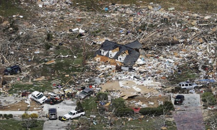 The remains of homes shattered by storms near Cookeville, Tennessee.