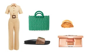 Jumpsuit, £250 by Staud from matchesfashion.com Bag, £29.99, zara.com Sliders, £85, coach.com Ring, £210, alighieri.co.uk Bronzer and highlighter compact, £35 by Becca from spacenk.com