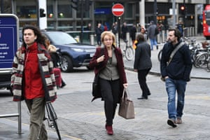 Andrea Leadsom, the business secretary, arrives at King's Cross for a train to Sunderland