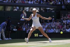 Elena Vesnina lines up a return.