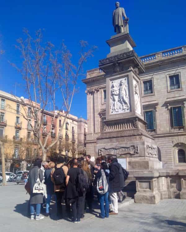 The walking tour's stop at the Antonio López statue, Barcelona, Spain.