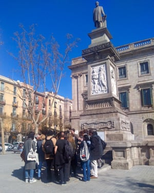 The walking tour's stop at the Antonio López statue, Barcelona, Spain.