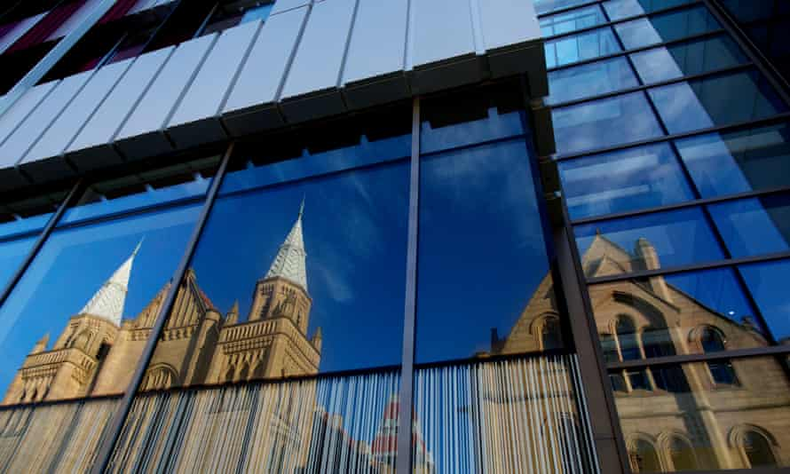 A mixture of old and new buildings at the University of Manchester.