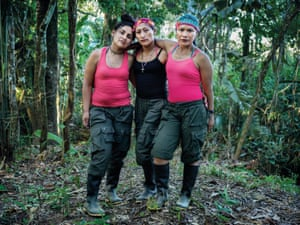 FARC guerrilla fighters Daniela, Yuli and Nancy in the transition period from soldier to civilian in the FARC camp, El Diamante camp