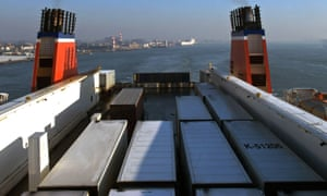 A cargo ferry leaving the Netherlands.
