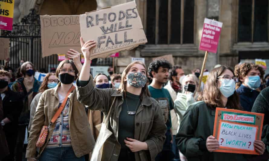 Protesters marching in May at Oriel College
