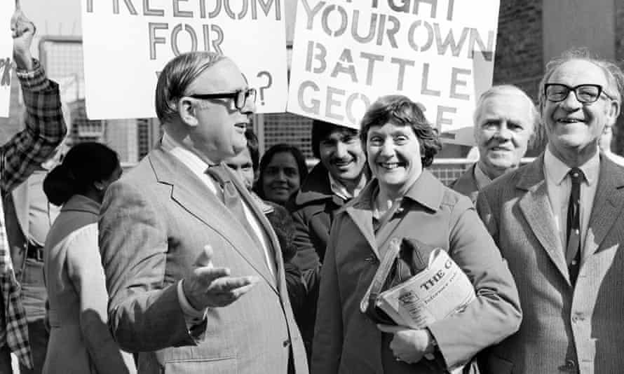 Shirley Williams, centre, the education secretary, with, left, Denis Howell, the minister for sport, and right, the defence secretary, Fred Mulley, on the picket line during the Grunwick dispute, 1977.