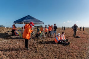 Base camp of the Coalition Against Duck Shooting beside Victoria's Little Lake Buloke. Each year on hunting season's opening day, the group and others including volunteer veterinarians arrive at multiple wetlands across the state