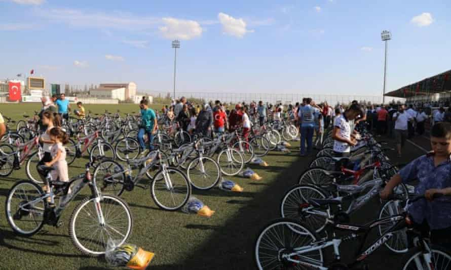 A field of dreams … bikes ready to be collected by local children.