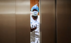 A nurse wears protective gear at a newly-converted resuscitation intensive care department for coronavirus patients in Neuilly-sur-Seine, near Paris, France.