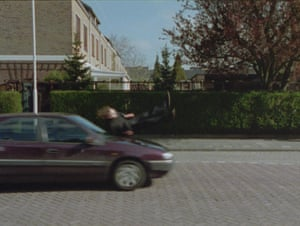 Guido van der Werve is knocked over by a car in Nummer Twee, Just Because I'm Standing Here Doesn't Mean I Want to.