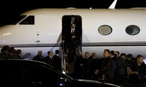 The Lebanese prime minister, Saad Hariri, disembarks at Rafik Hariri airport in Beirut.