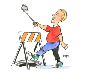 cartoon of boy distracted by phone
