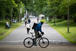 A cyclist in the Meadows in Edinburgh.