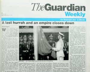 The Guardian Weekly cover from July 1997, covering the historical handover of Hong Kong from UK to China