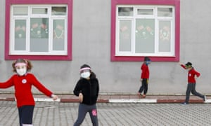 Pupils wearing face shields and masks at school in Antalya, Turkey.