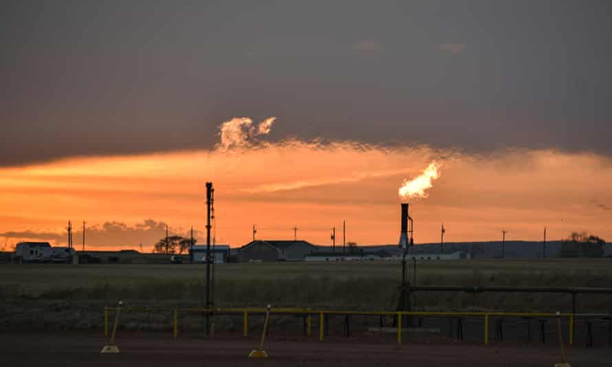 Flares erupt in the oil-rich Fort Berthold Indian Reservation in North Dakota.