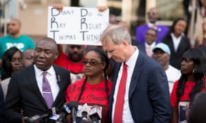 Attorney Ben Crump (left), Marketta Thomas, Danny's sister, and attorney Bob Hilliard in front of the Harris County civil court in Houston on 12 April.