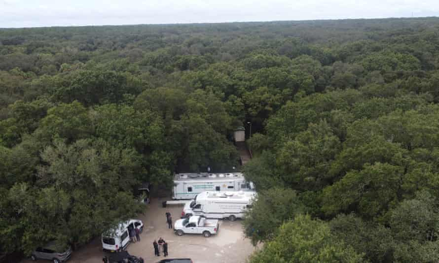 Law enforcement officials conduct a search of the vast Carlton reserve in the Sarasota, Florida, area for Brian Laundrie on Saturday.