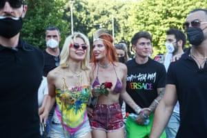 Milan, Italy. Benjamin Mascolo and Bella Thorne attend Pride in Sempione Square