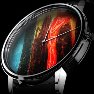 A watch with an artwork face.
