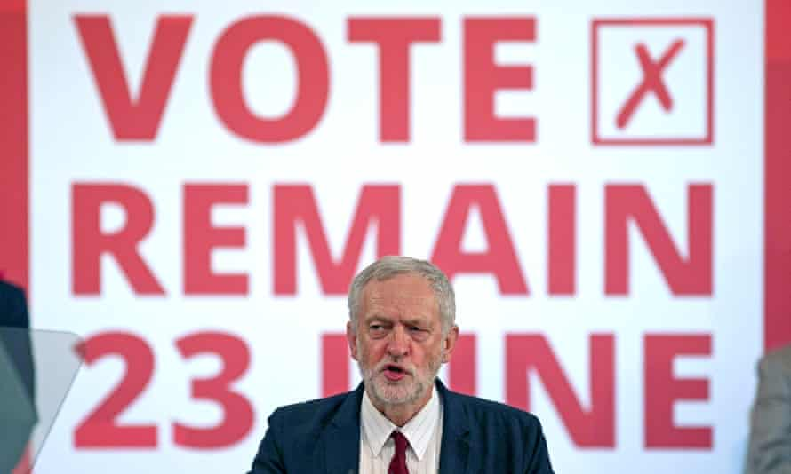 Jeremy Corbyn setting out his case to 'remain and reform Europe' in June 2016..