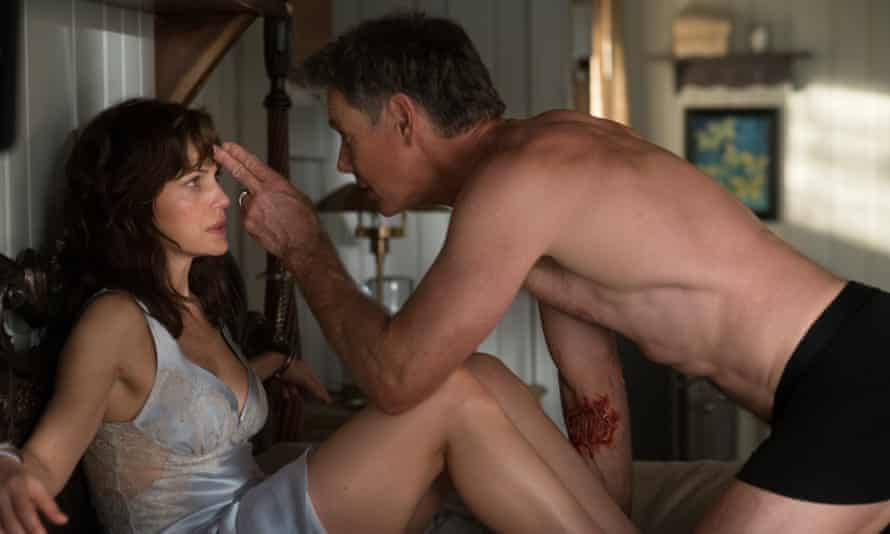 'It's a barnstorming showcase for Gugino, so often underused, who tackles a difficult, physically restricted role with gusto' ... Carla Gugino and Bruce Greenwood in Gerald's Game.
