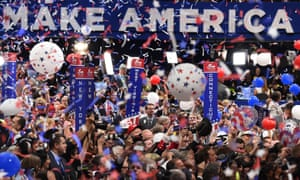 Balloons and confetti descend on the Republican national convention in Cleveland, Ohio, on 21 July 2016.