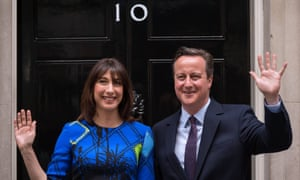 David and Samantha Cameron in Downing Street the day after the Conservatives won an overall Commons majority in the 2015 general election – despite the opinion polls.