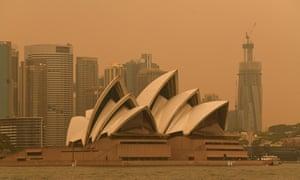 Smoke haze from bushfires in New South Wales blankets Sydney.