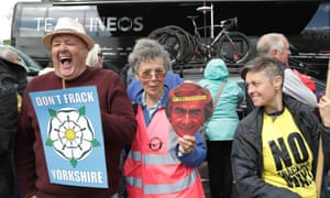 Anti-fracking protesters at the Tour de Yorkshire.