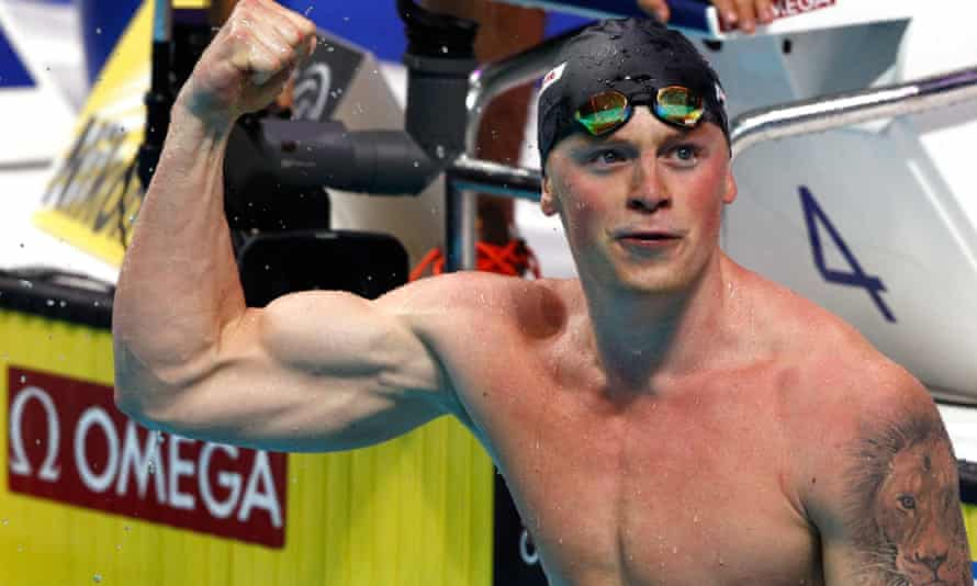 Adam Peaty celebrates after winning gold in the men's 50m breaststroke at the World Championships in Budapest
