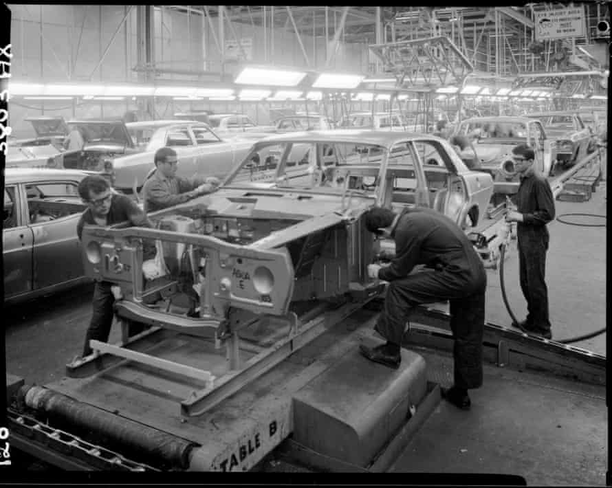 An assembly line at Ford Broadmeadows factory in 1966.