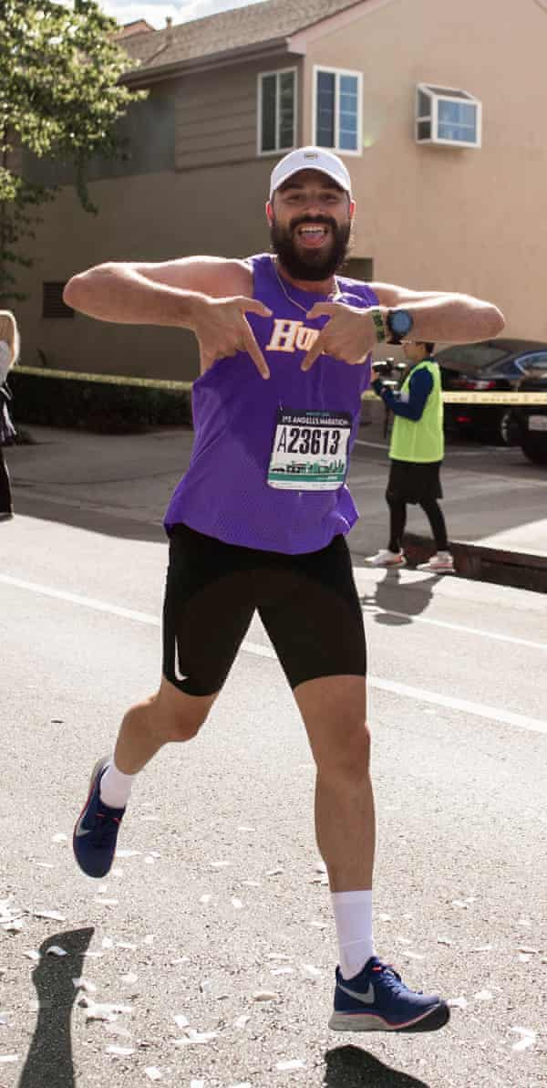 Kieran Ryan running the LA marathon before contracting the coronavirus